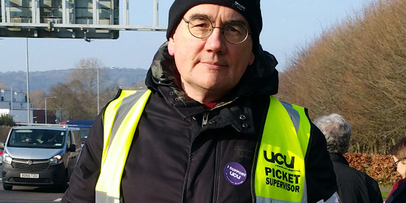 Jim Endersby on the picket line
